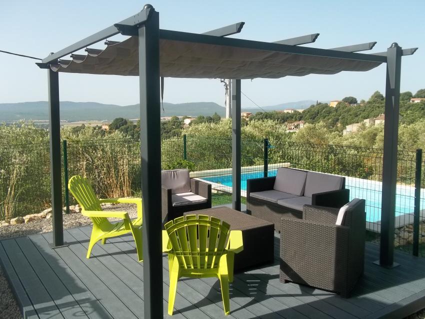 condate aluminium pergola 3x3m with sliding retractable canopy grey. Black Bedroom Furniture Sets. Home Design Ideas