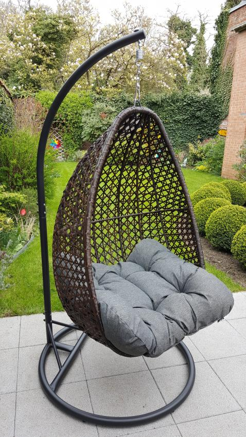 Hanging Egg Chair In Brown Rattan With Thick Grey Cushion Hanging Egg Love Seat